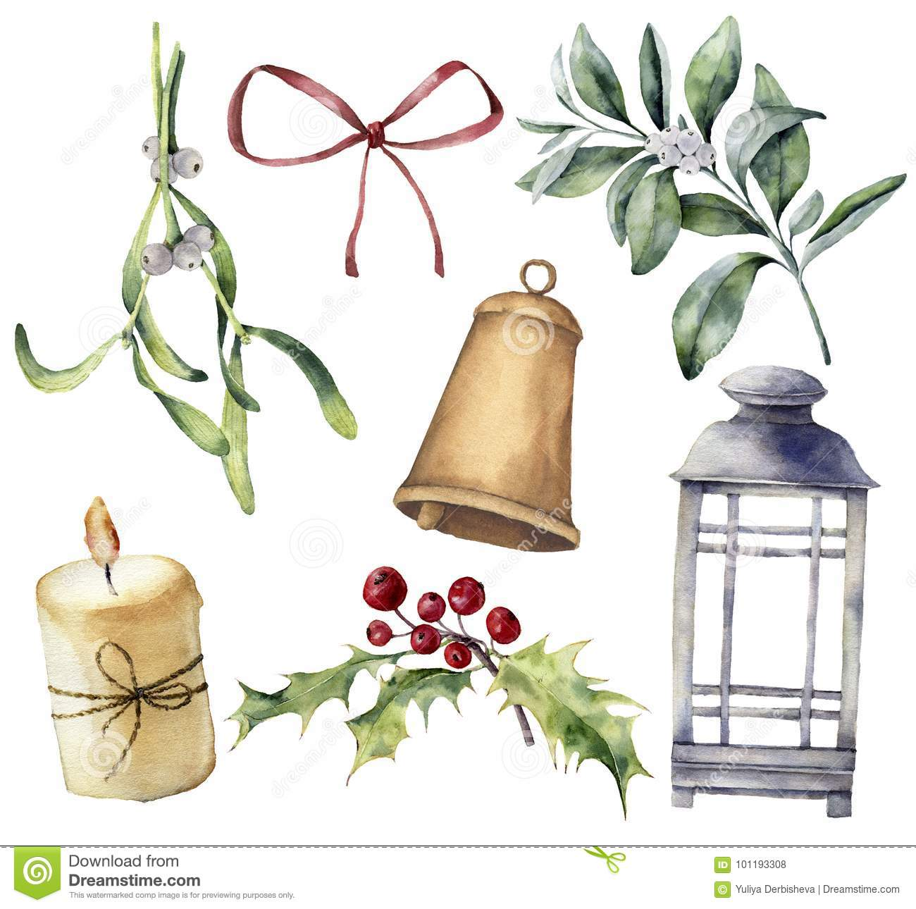 Watercolor Christmas Candles Clipart Merry Christmas Design Holiday Decoration Art Illustration Bells Hand Painted Floral Composition