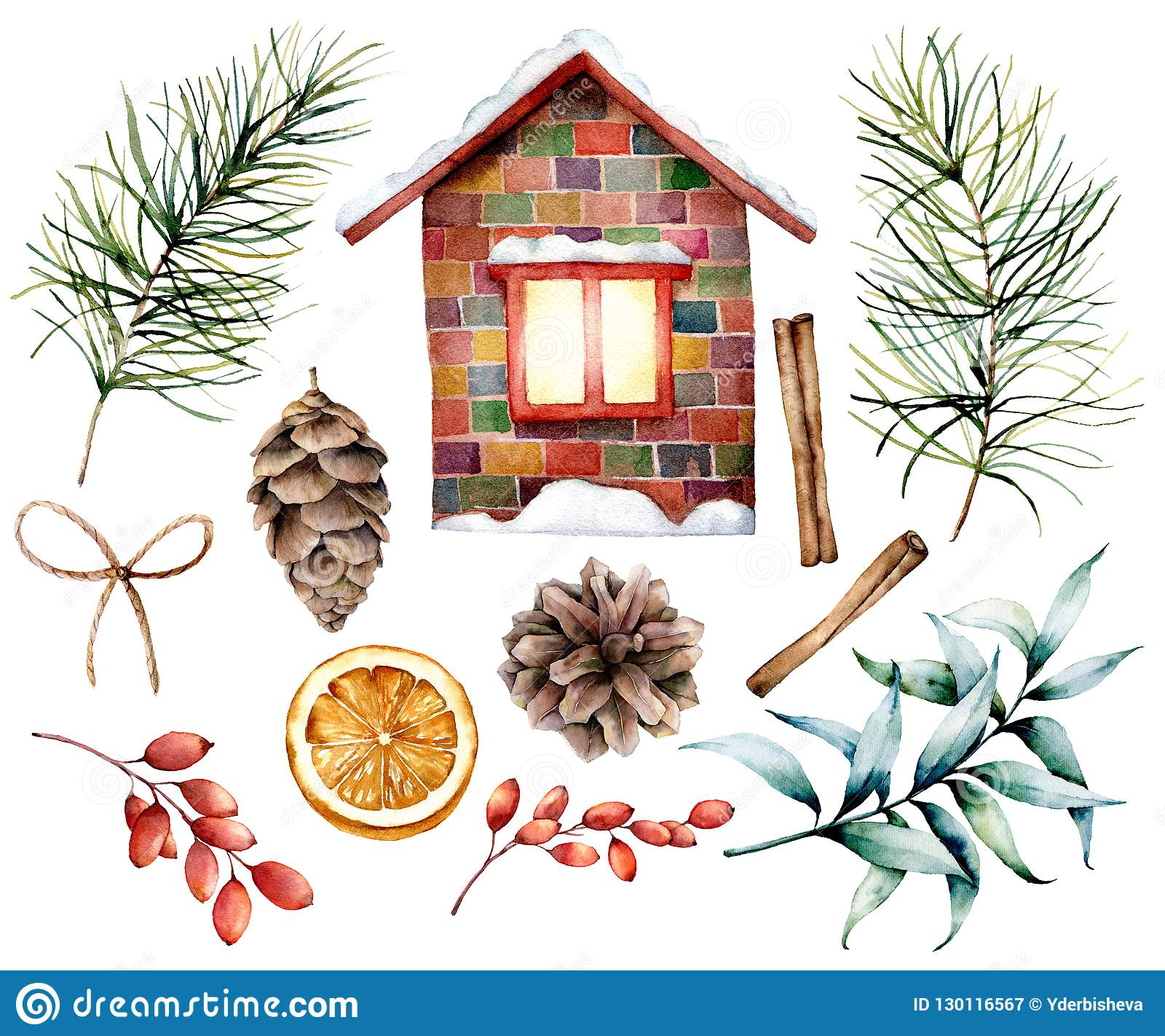 Watercolor Christmas decor set with ceramic house. Hand painted fir branches and cones, cinnamon, barberry, eucalyptu