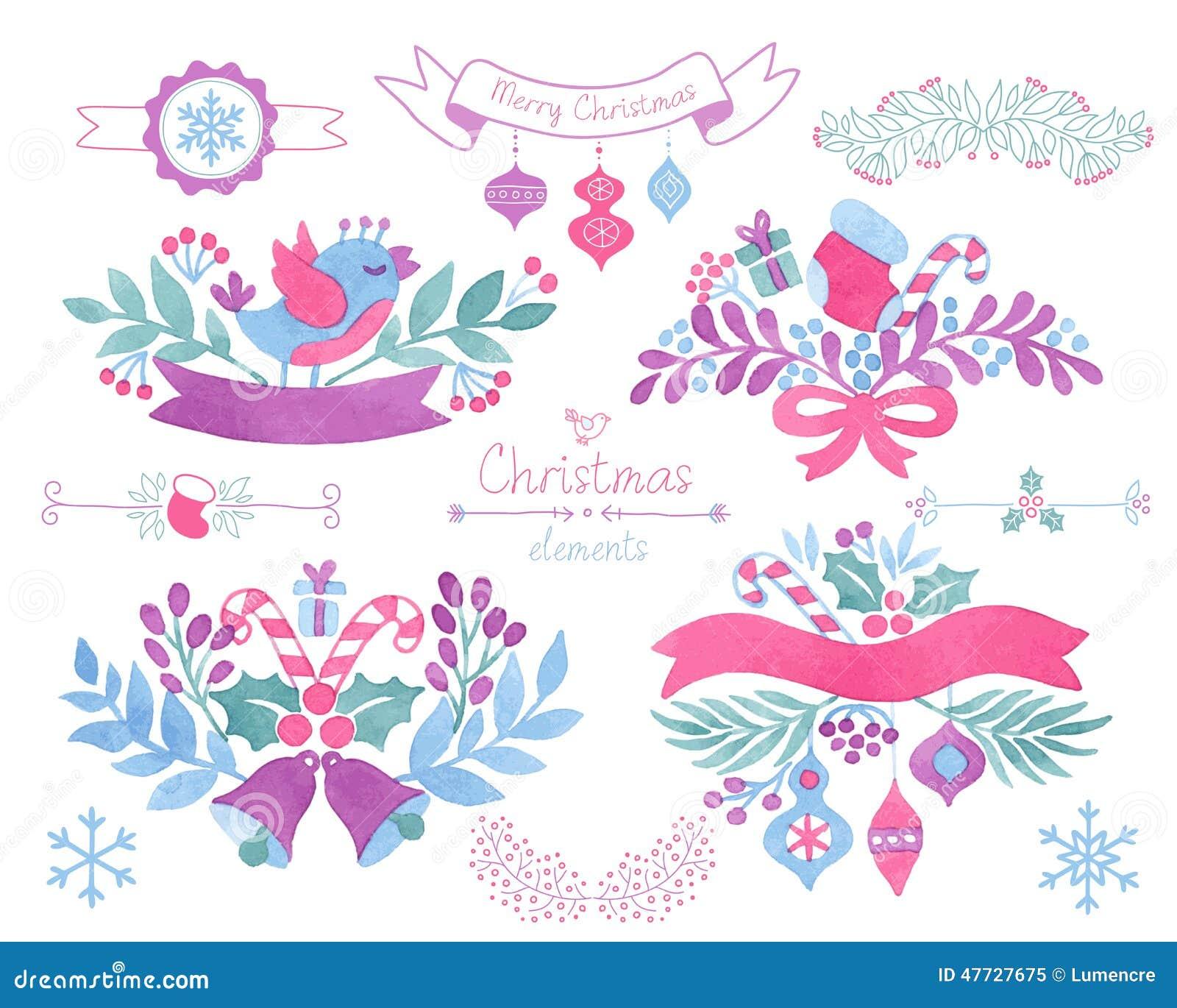 Christmas Decorations.watercolor. Christmas Decor. Stock ...
