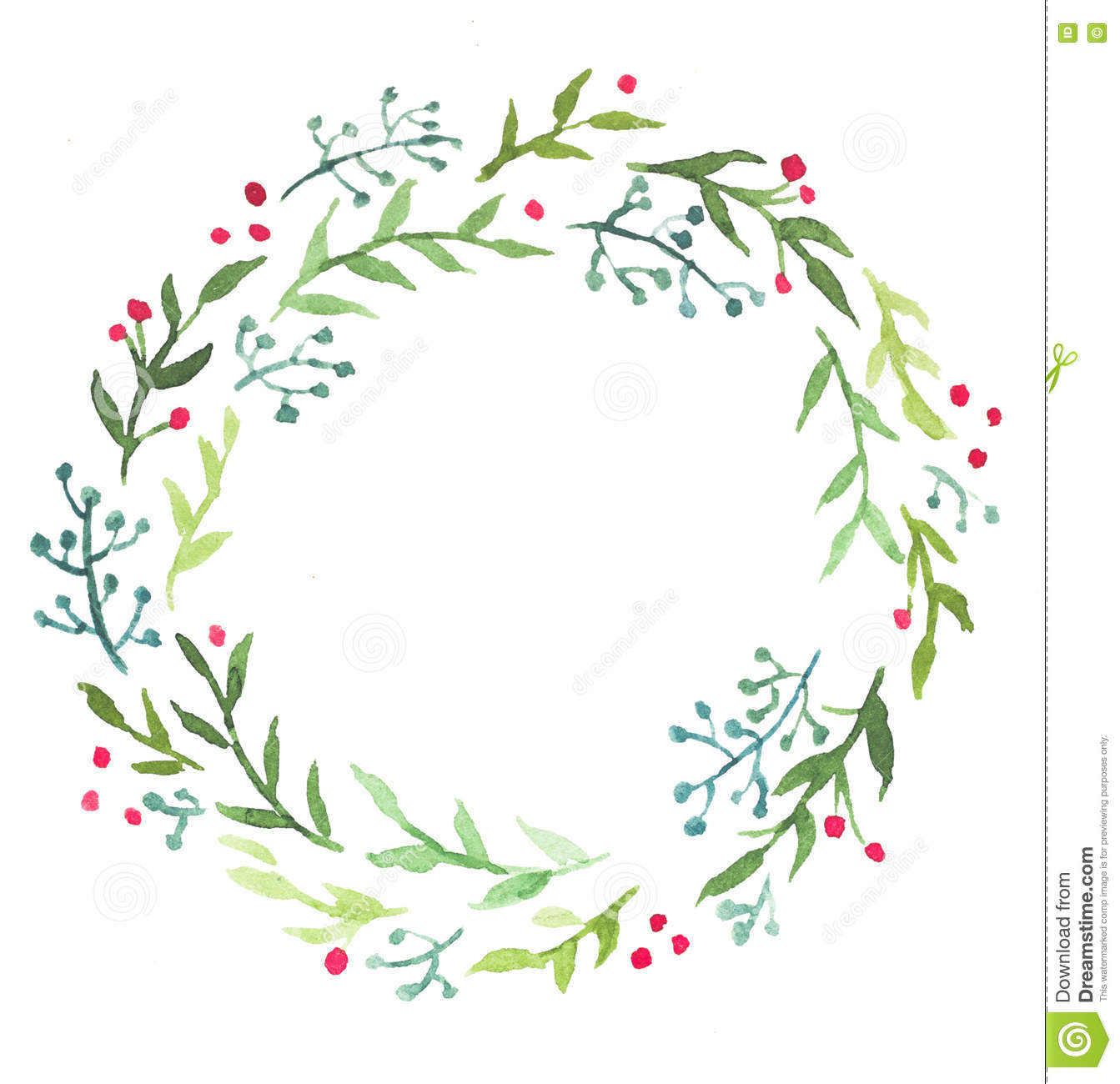 Watercolor Christmas Floral Wreath Stock Illustration