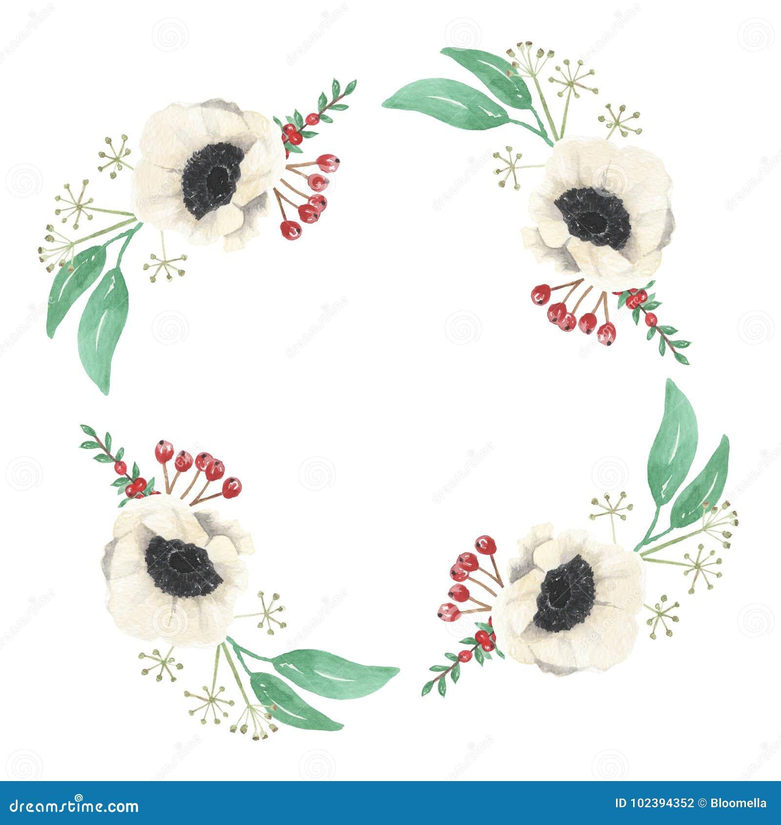 Watercolor Christmas Flower Leaves Berries Festive Wreath Border