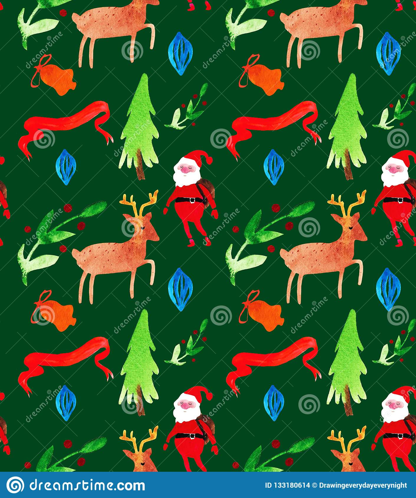 Watercolor Christmas illustrations seamless pattern with Santa Clause, deer, trees and berries . Winter New Year theme.
