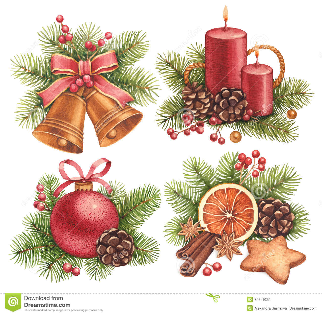 Watercolor Christmas Illustrations Stock Illustration