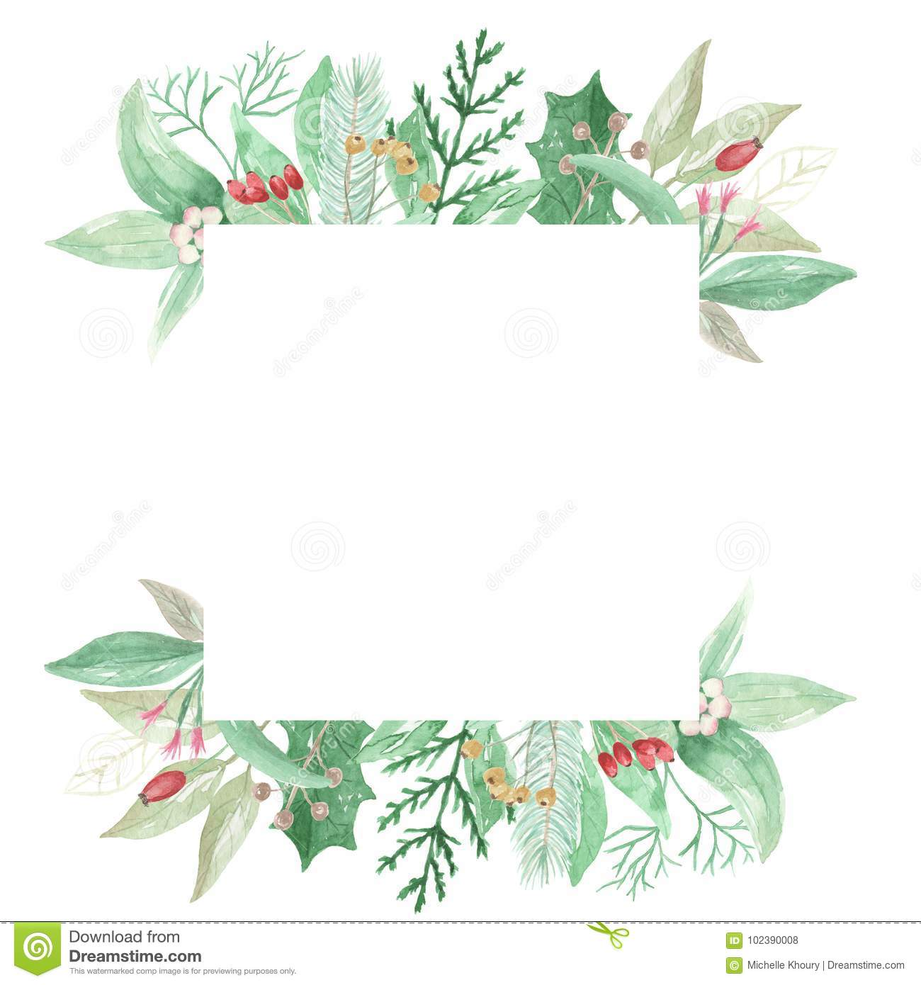 watercolor christmas leaves flowers berries festive square holly leaves clipart png holly leaves clipart black and white