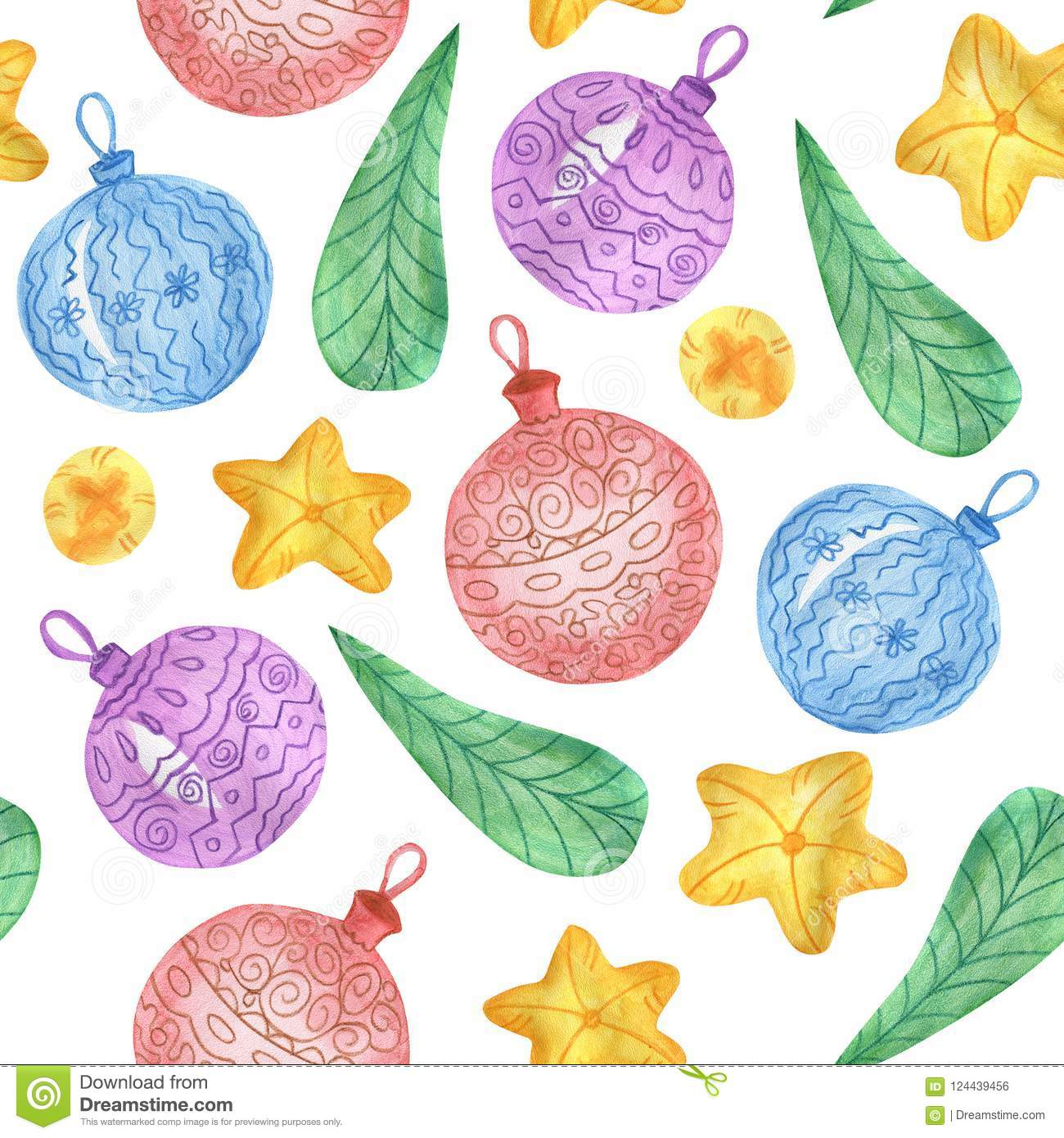 New Years Foliage >> Watercolor Christmas Pattern From Christmas Balls Stars And Green