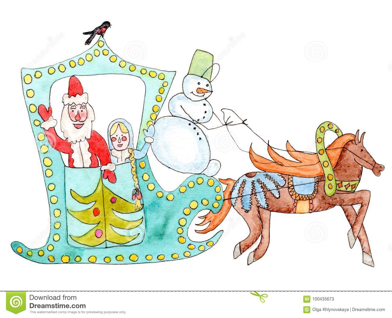 Watercolor Christmas Postcard With Father Frost, Snow Maiden And ...