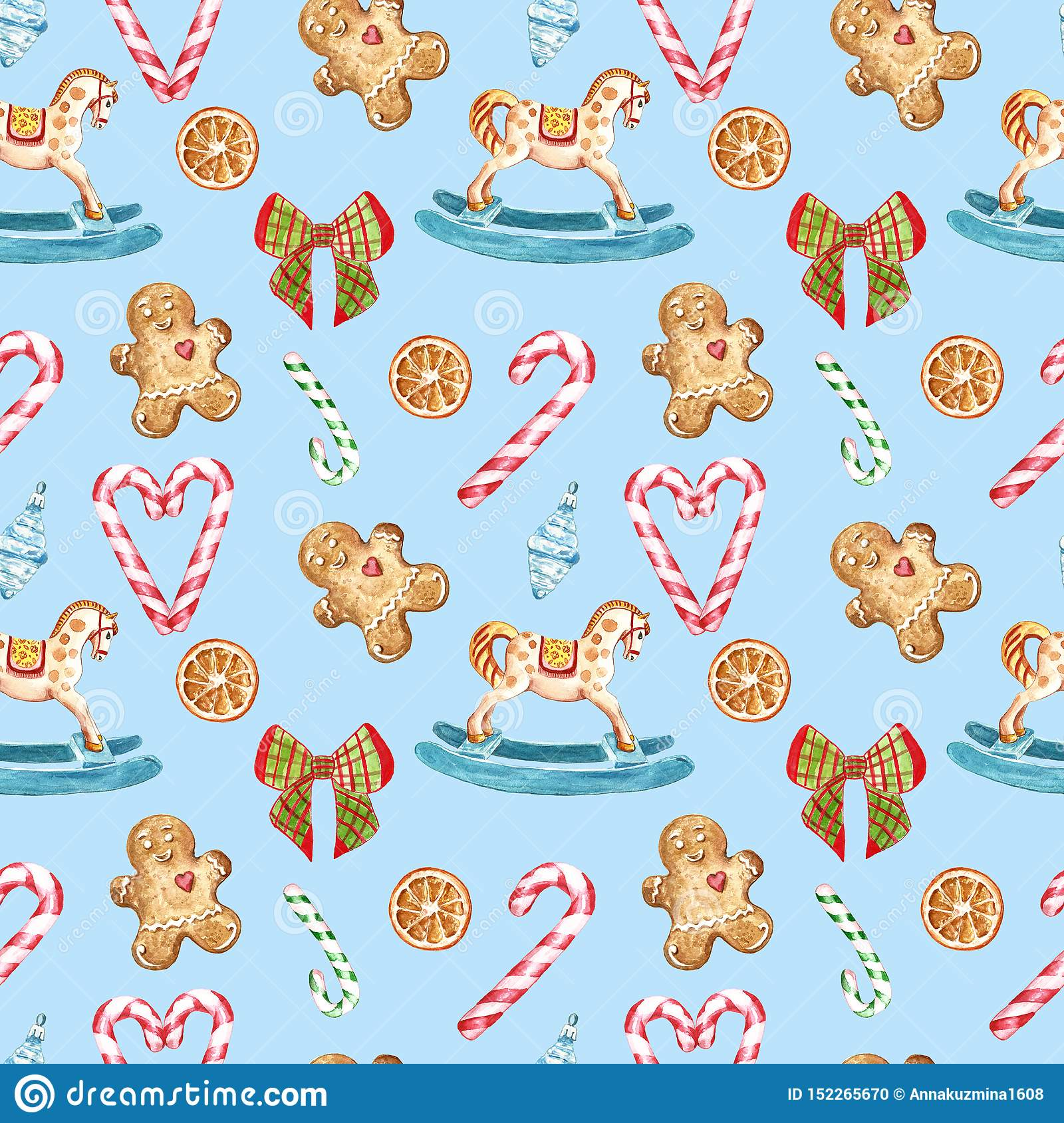 Watercolor Christmas Seamless Pattern With Candy Canes Rocking Horse Ornament Tree Decor Ribbon Gingerbread Cookies On Blue Stock Illustration Illustration Of Merry Candy 152265670