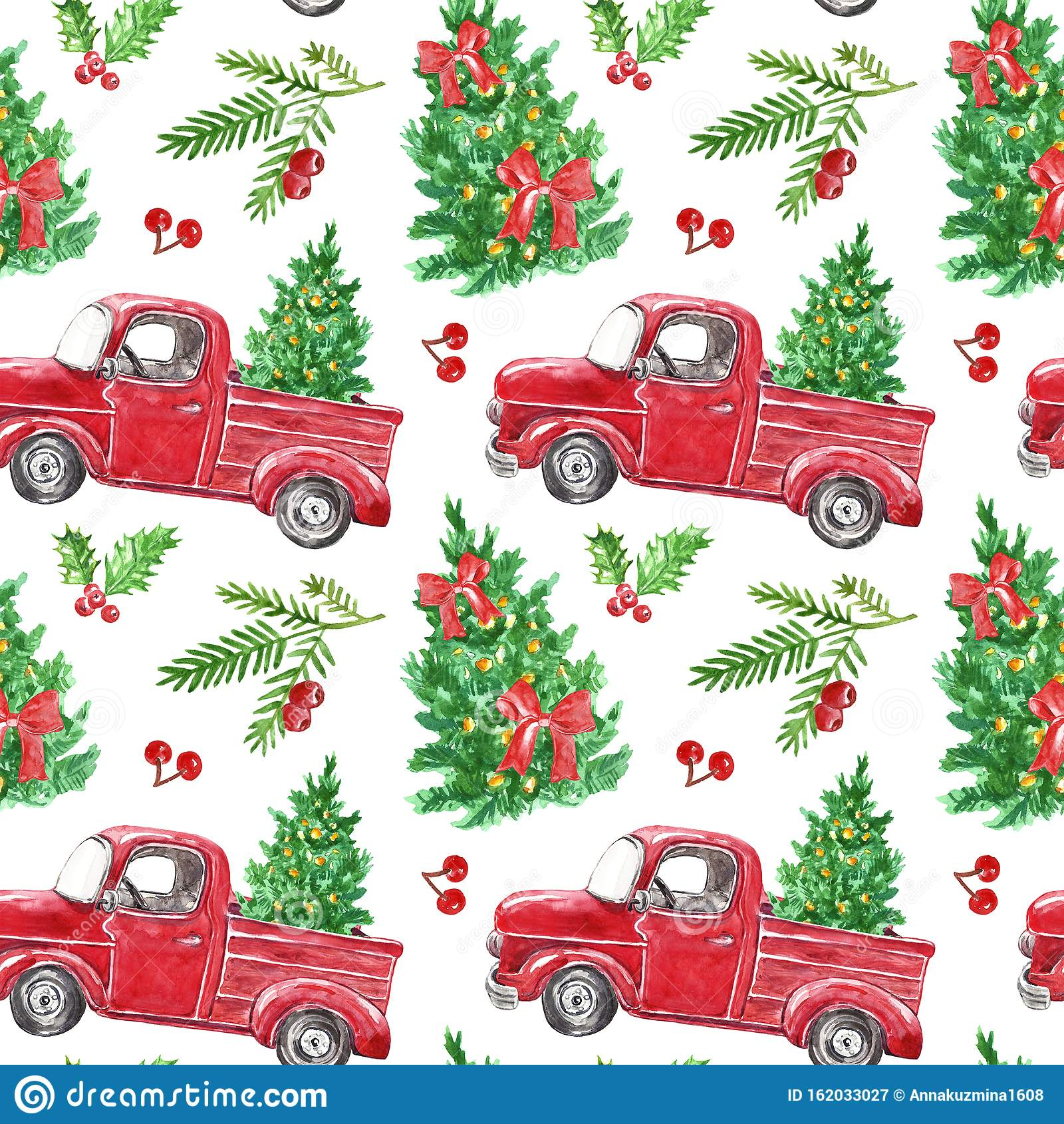 watercolor christmas seamless pattern red truck fir tree holly berries greenery branches white background festive vintage 162033027