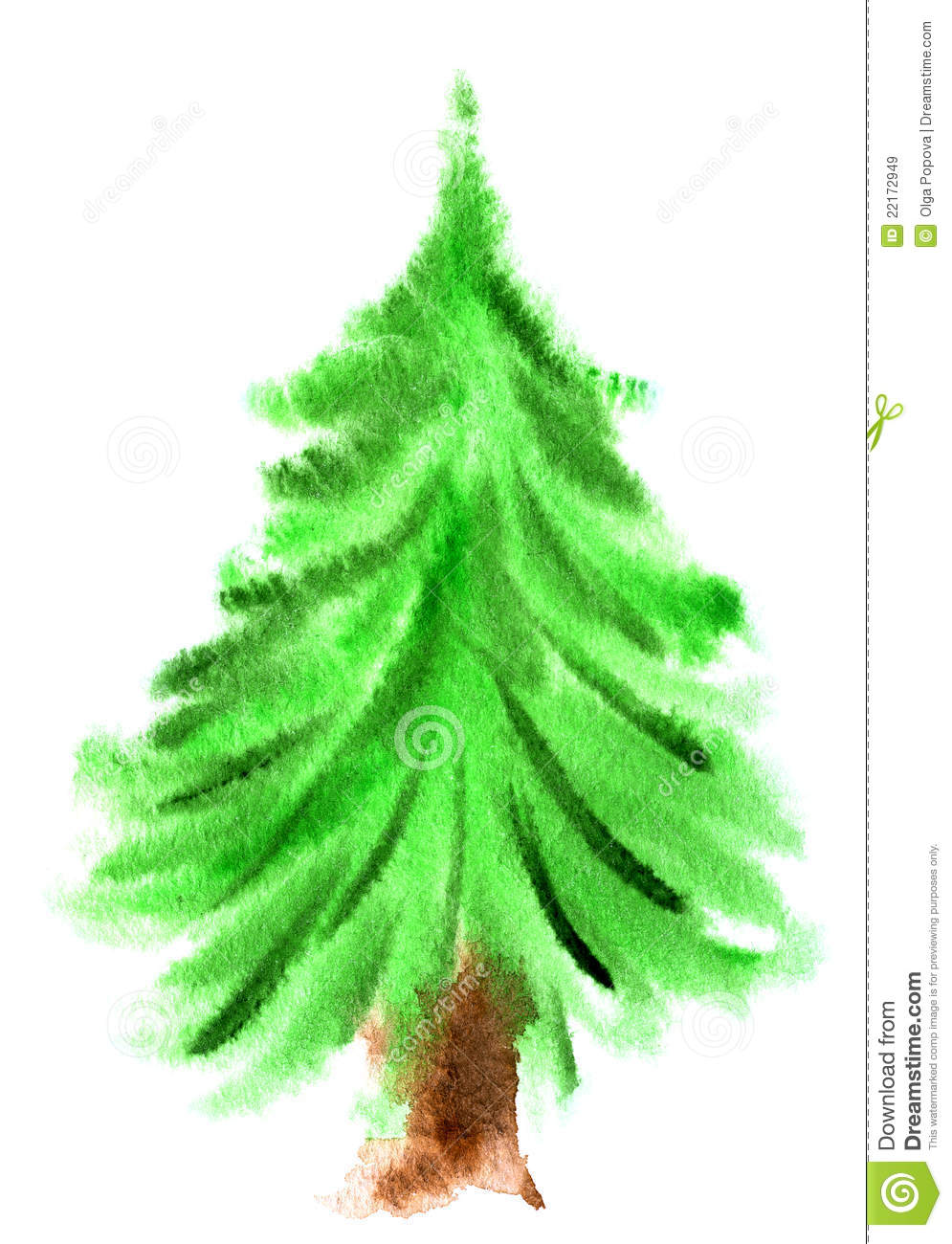 Watercolor Christmas Tree Royalty Free Stock Images - Image: 22172949