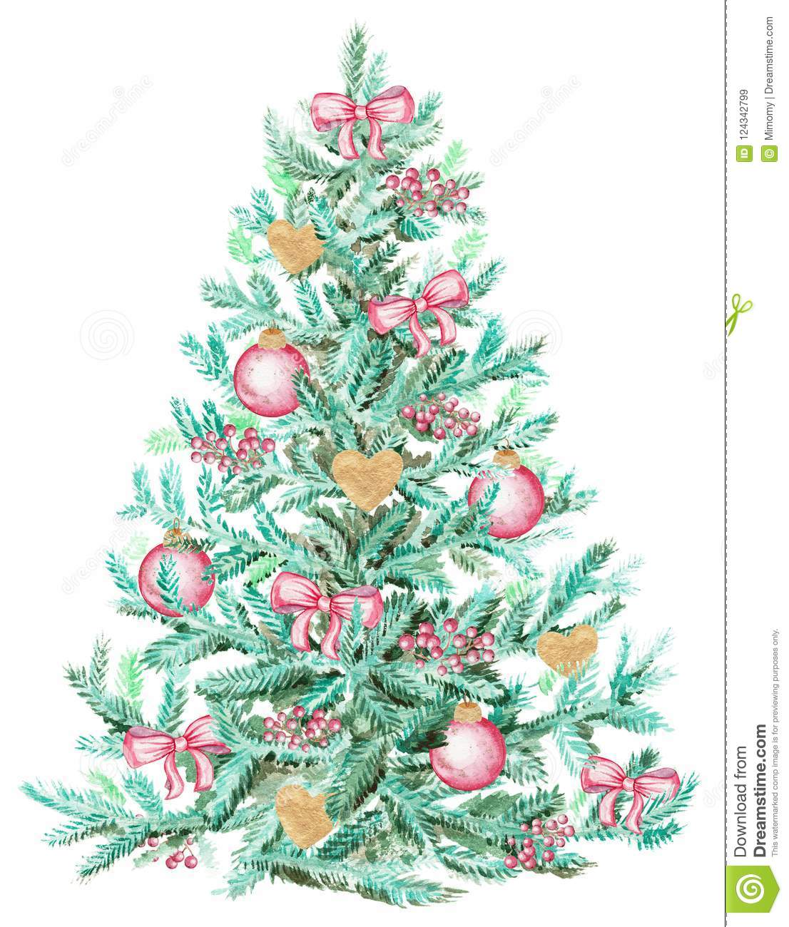 Watercolour Christmas Tree: Watercolor Christmas Tree With Bows, Berries And Balls