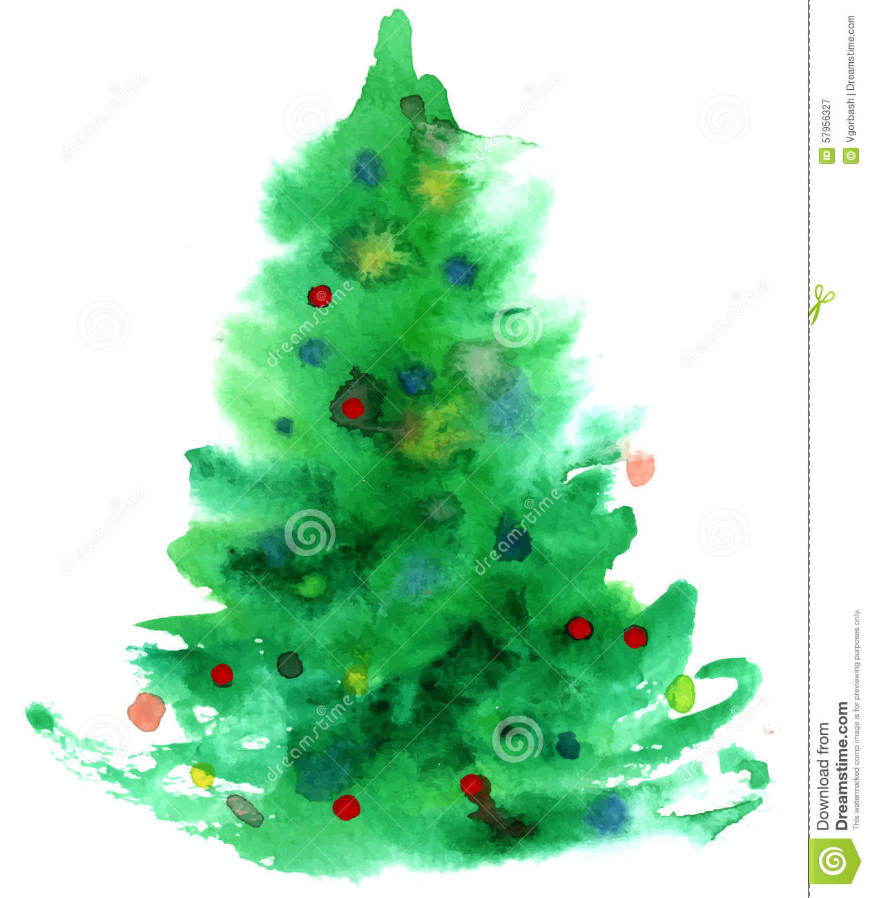 Watercolor Christmas Tree Isolated Stock Illustration - Image ...