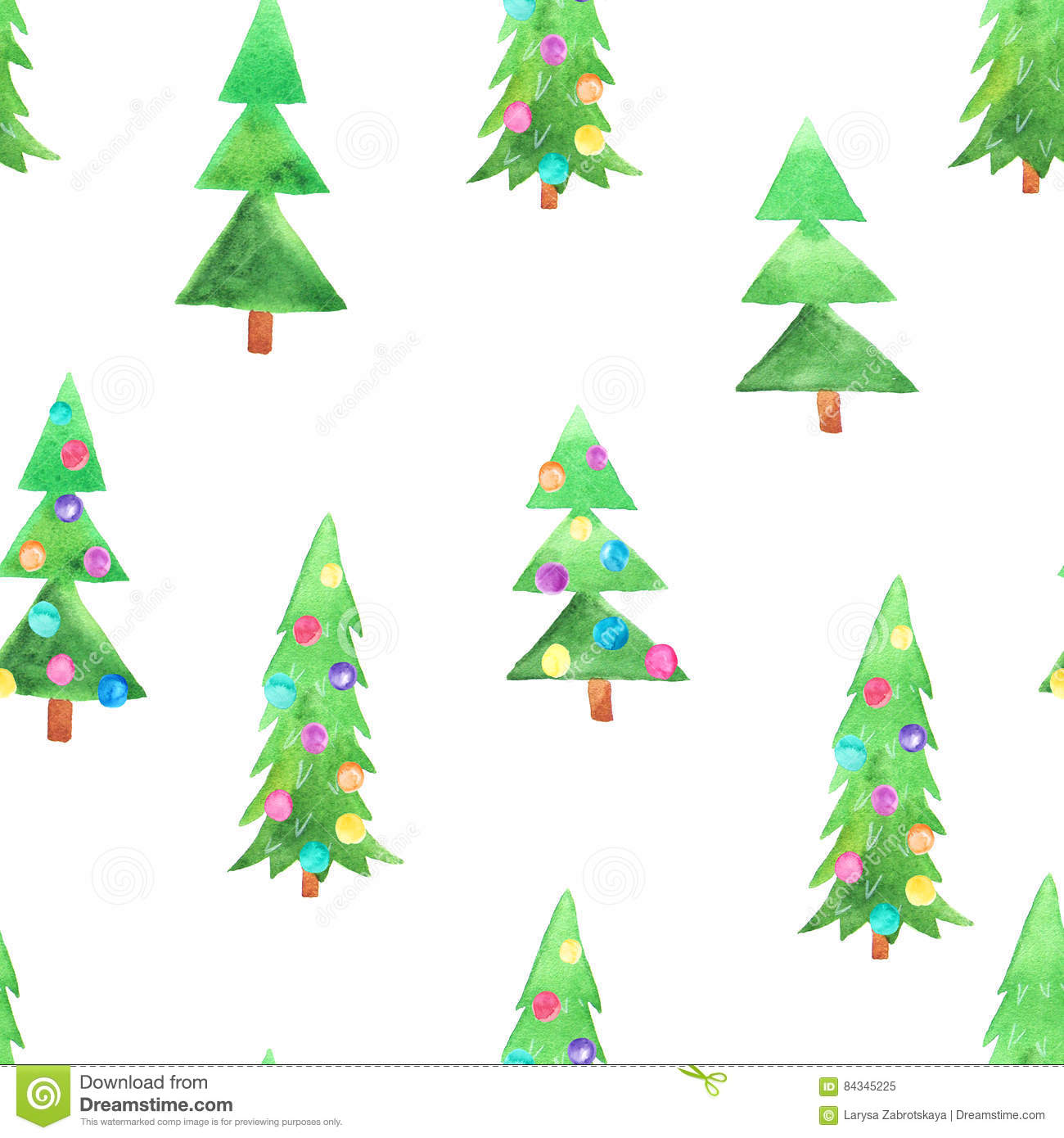 Watercolour Christmas Tree: Watercolor Christmas Tree Seamless Pattern Stock