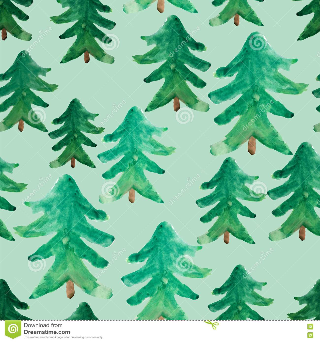 Christmas Tree Pattern.Watercolor Christmas Trees Seamless Pattern Winter