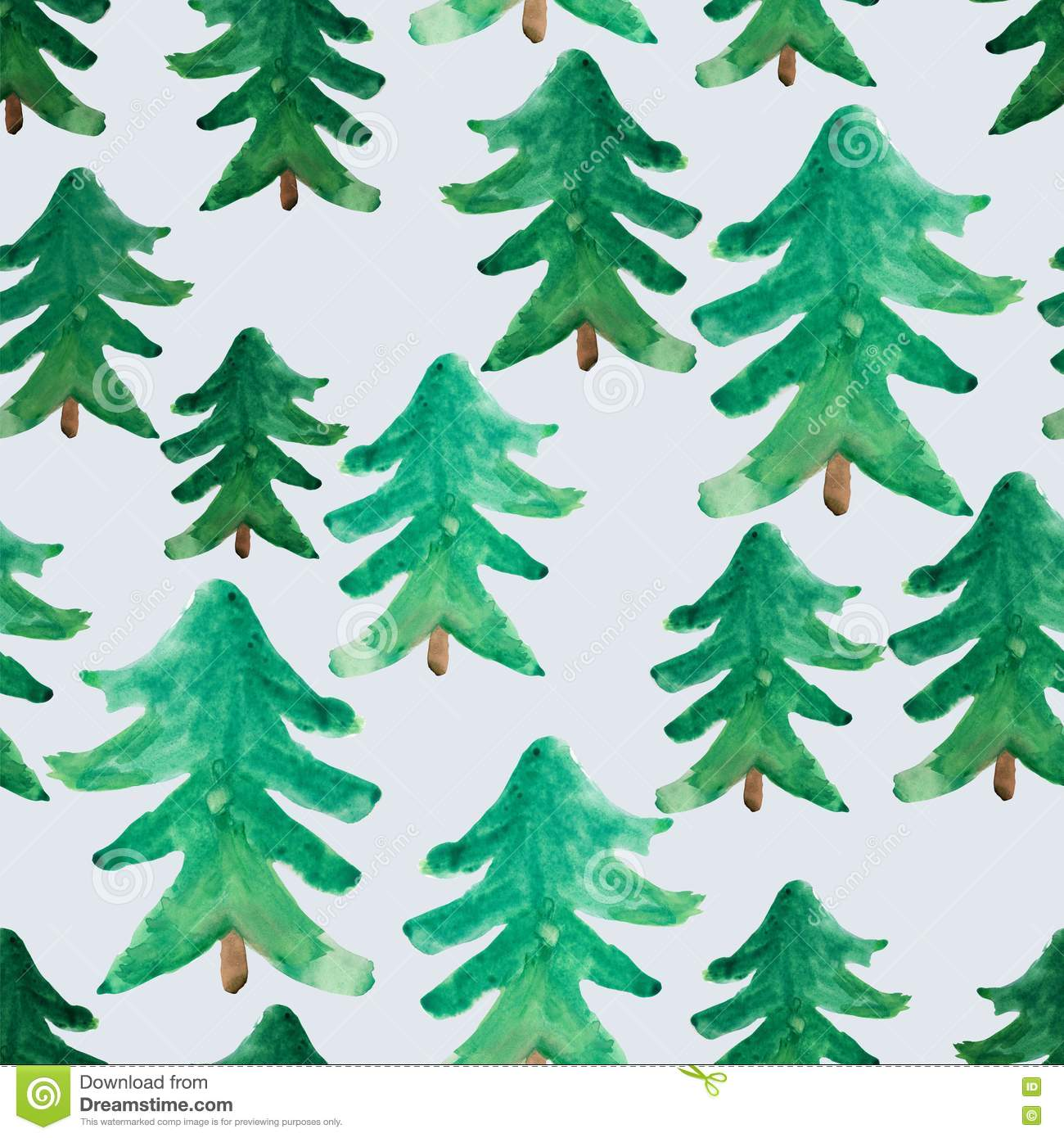 Christmas Tree Background.Watercolor Christmas Trees Seamless Pattern Winter