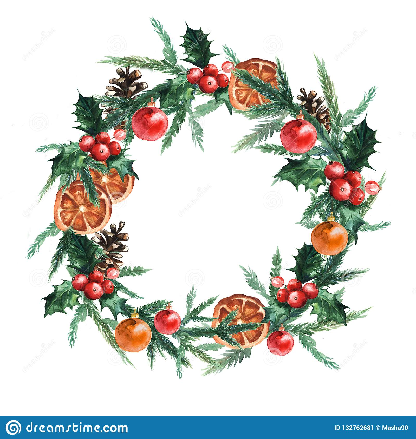 Watercolor Christmas wreath with christmas balls, pinecone, misletoe, oranges and branches of Christmas trees.