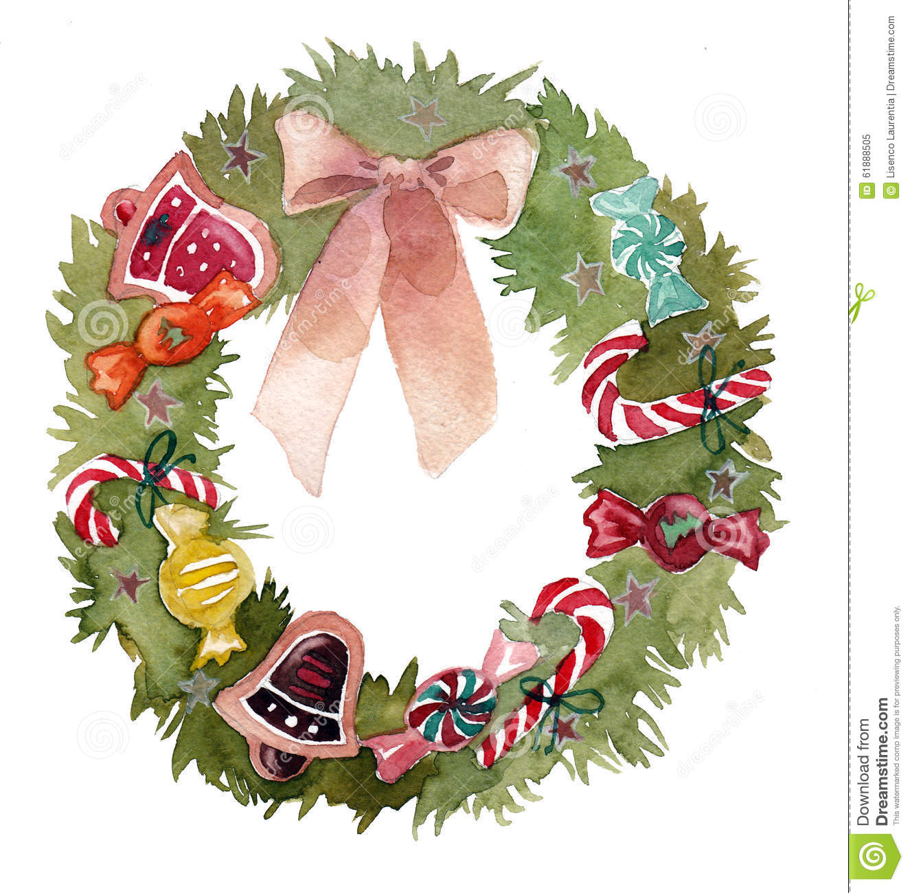 Watercolor Christmas Wreath Frame Isolated On The White Background