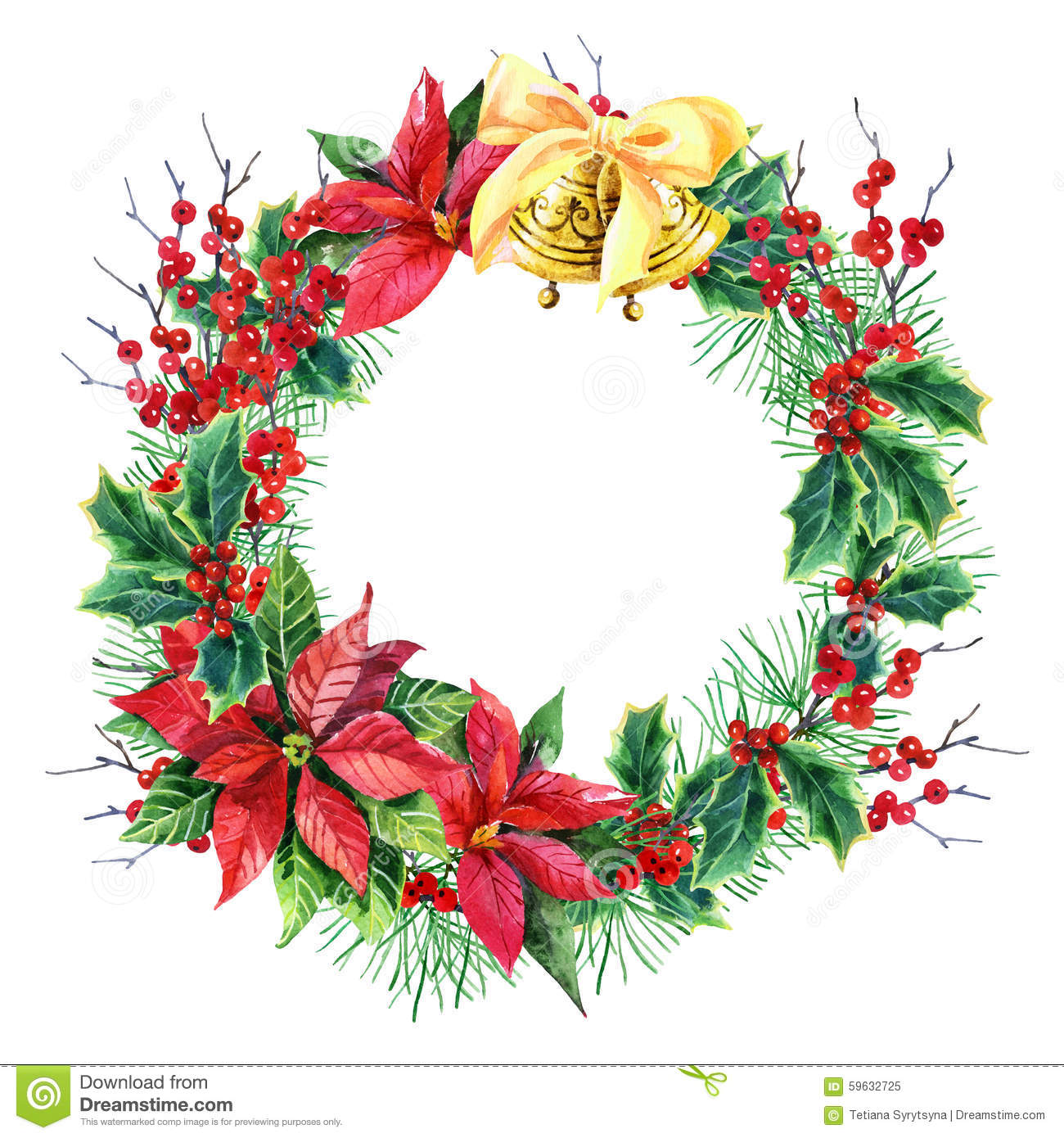 Watercolor Christmas wreath with poinsettia plant, pine tree branches ...