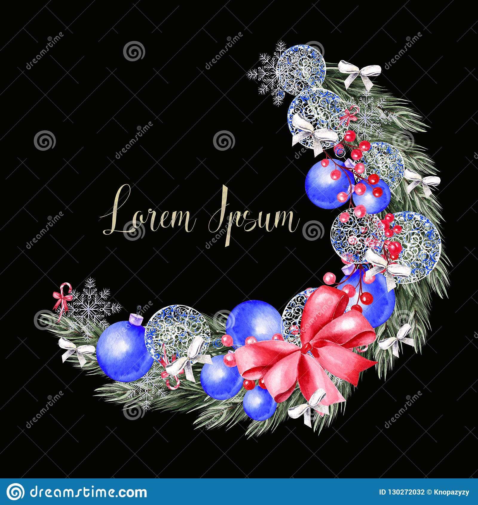 Watercolor Christmas wreath with toys, bow, berries and pine.