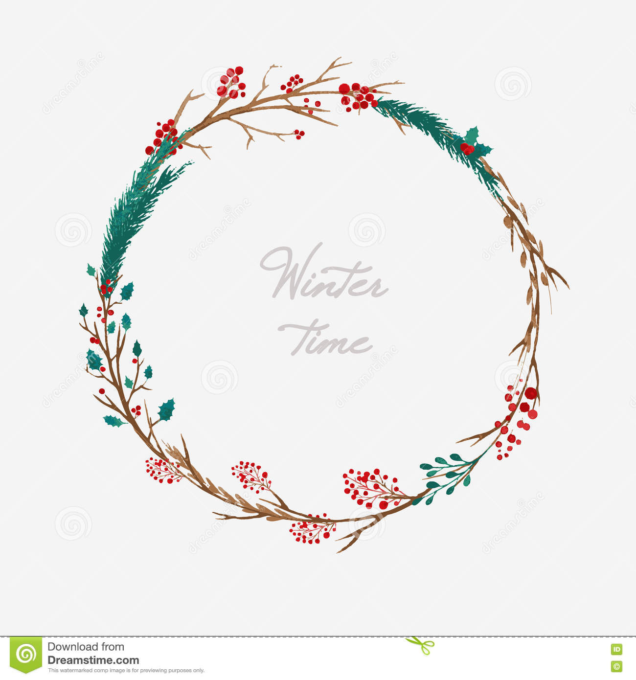 Christmas Wreath Vector.Watercolor Christmas Wreath Stock Vector Illustration Of