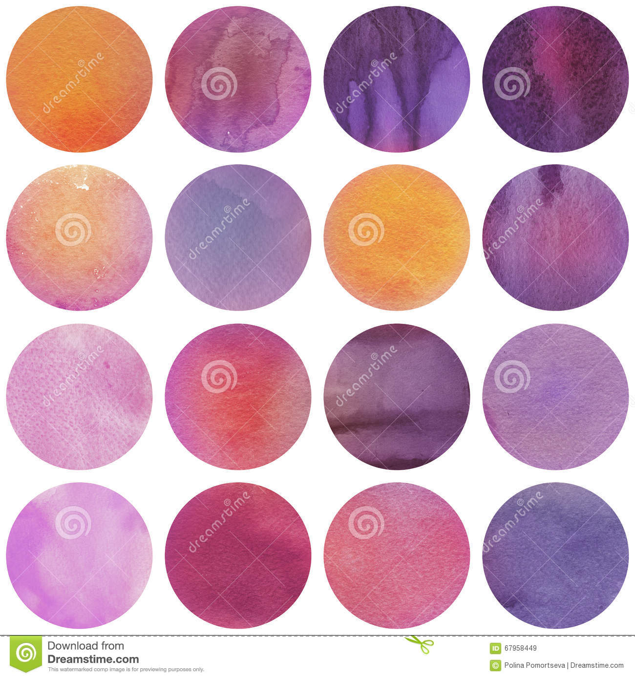 Watercolor circles collection in purple and lilac colors for Purple mauve color