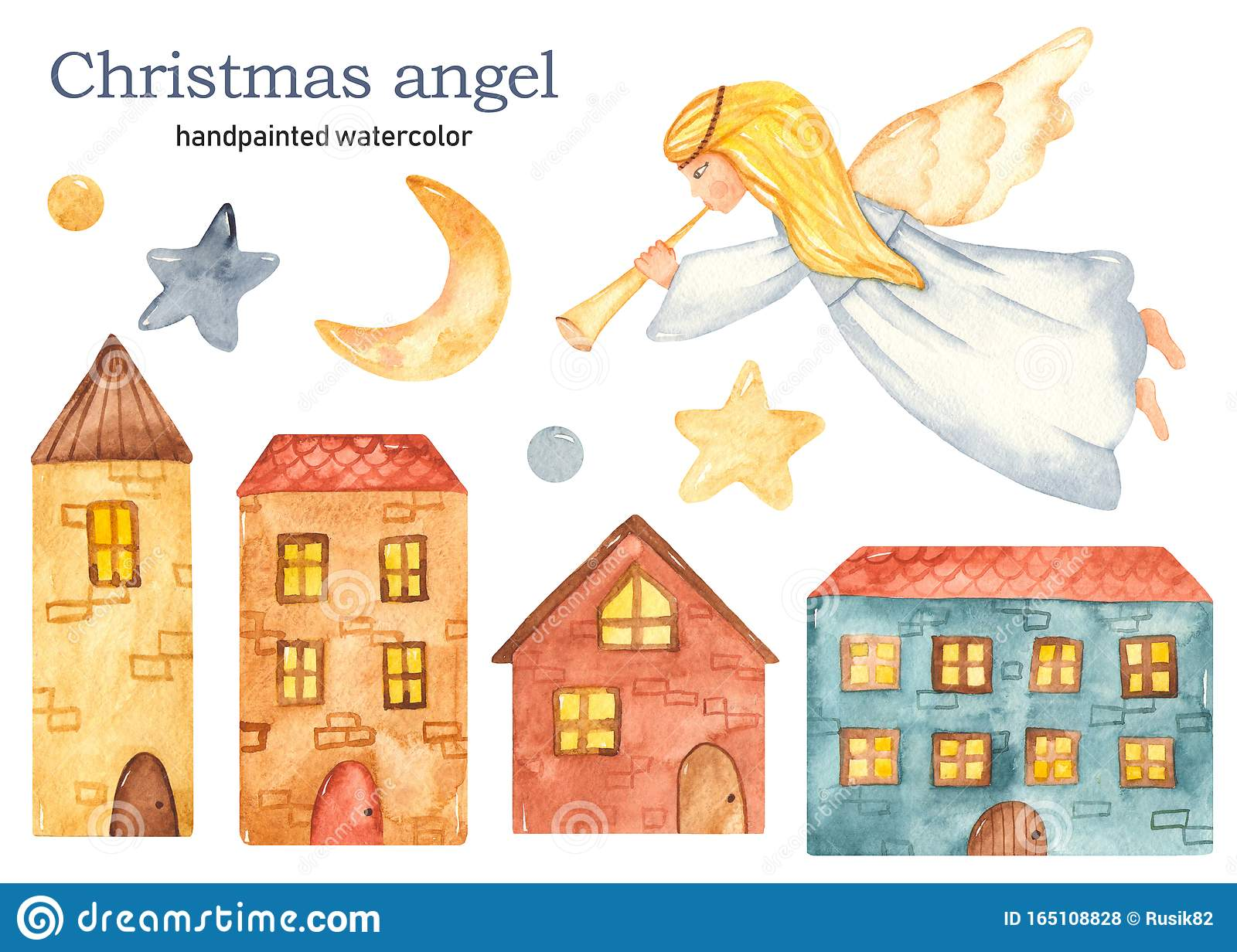 Christmas flying girl angel with trumpet watercolor clipart, houses, crescent, stars