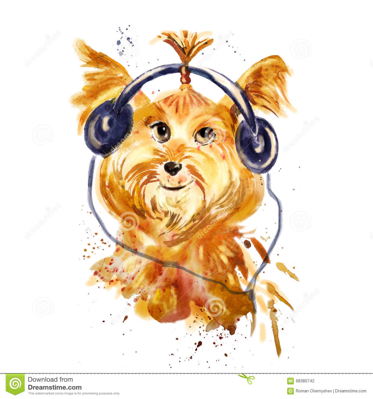 Watercolor close up portrait of a dog in headphones