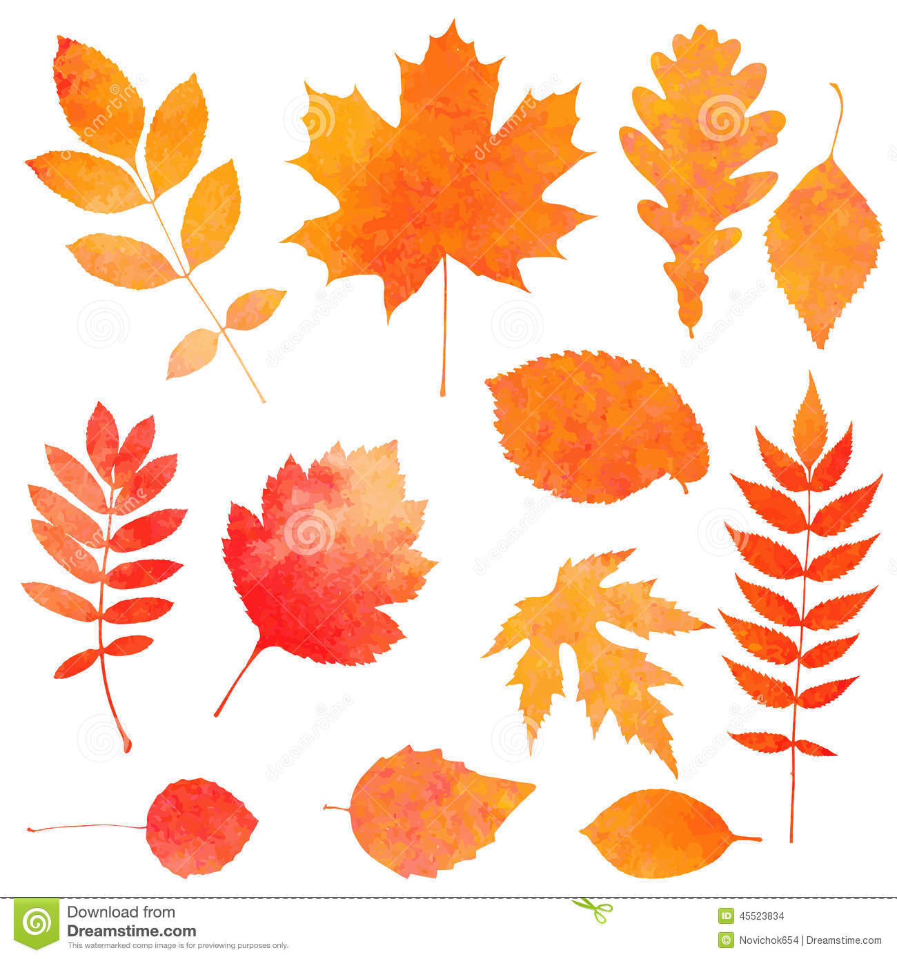 Watercolor collection of beautiful orange autumn leaves