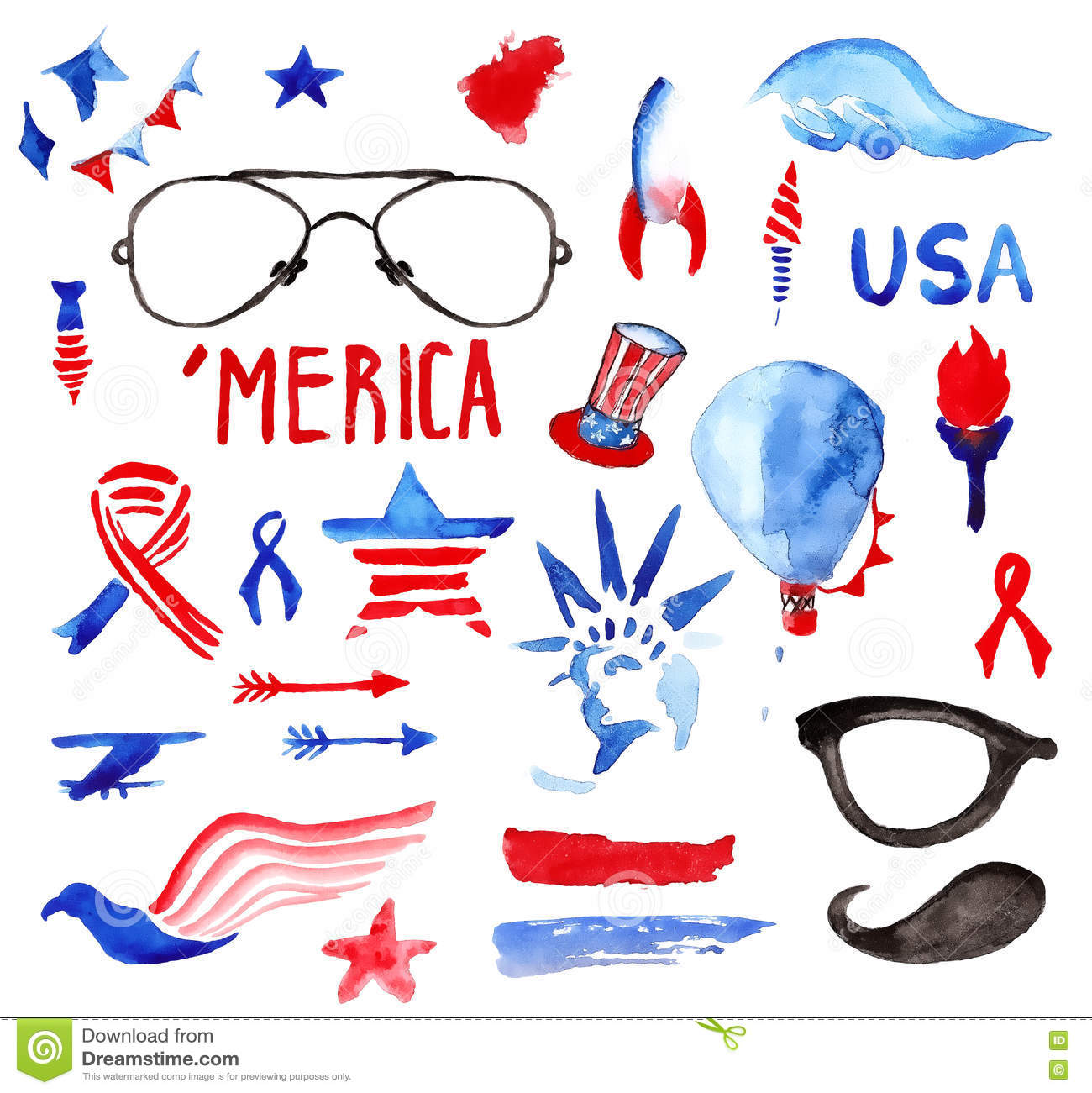 Watercolor Collection Of Fourth Of July Items Stock Illustration