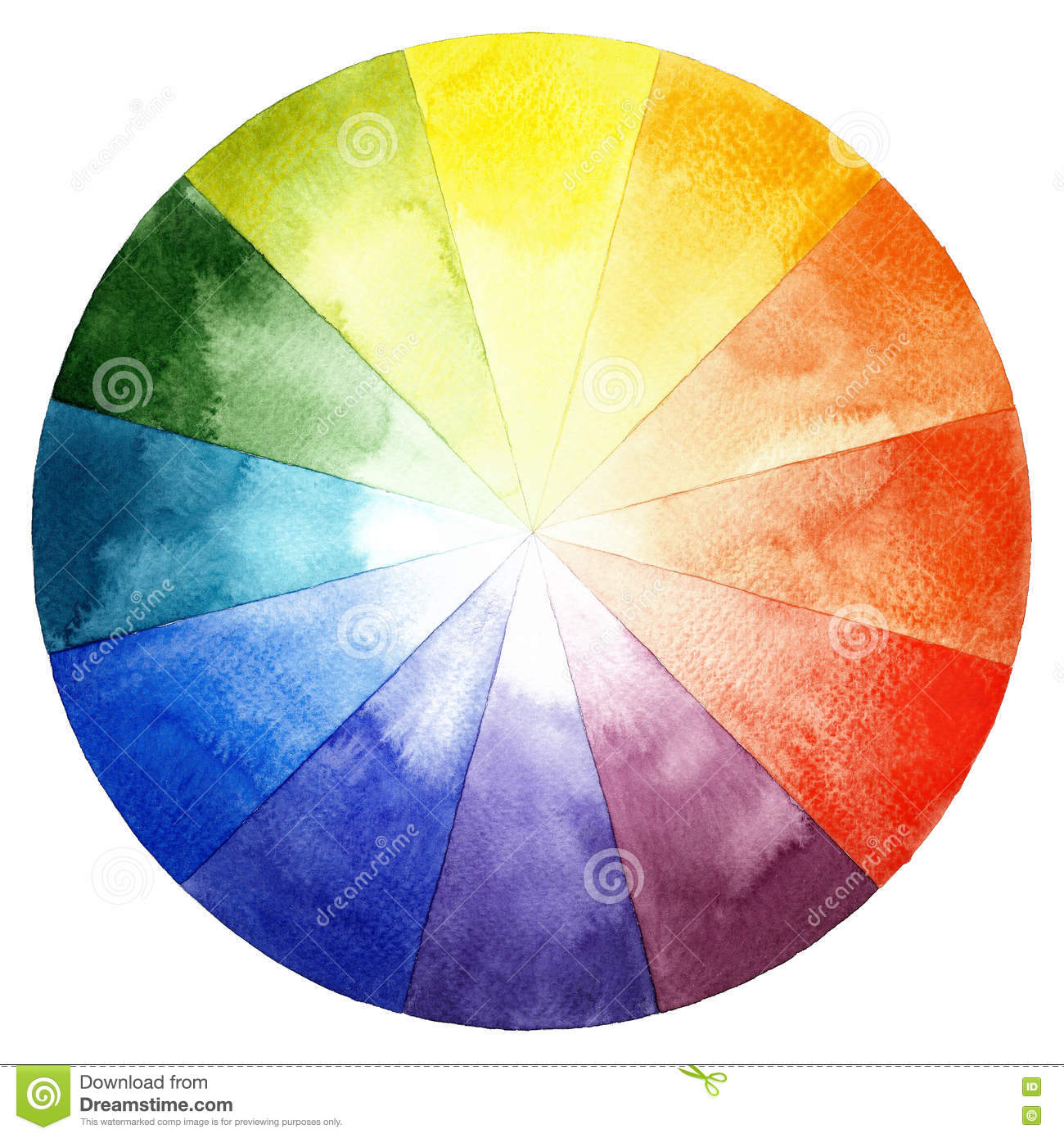 Watercolor Color Wheel Primary Secondary And Tertiary Colors
