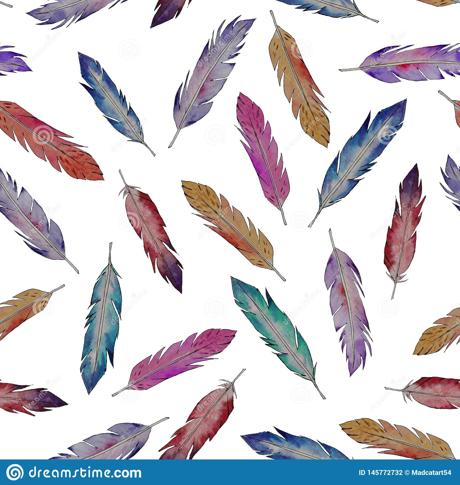 Watercolor colored feathers.Pattern.
