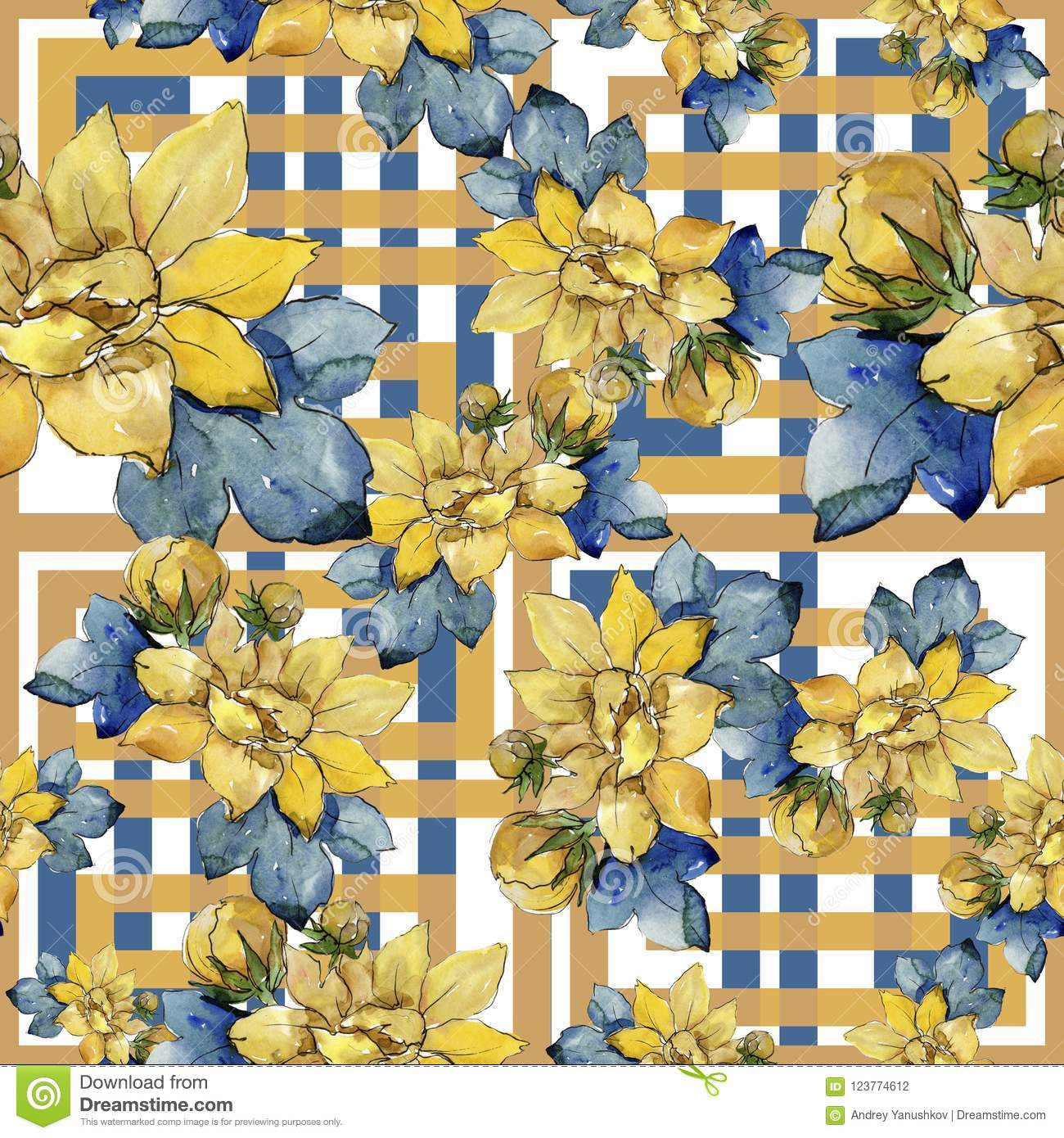 Watercolor colorful bouquet flowers. Seamless background pattern.