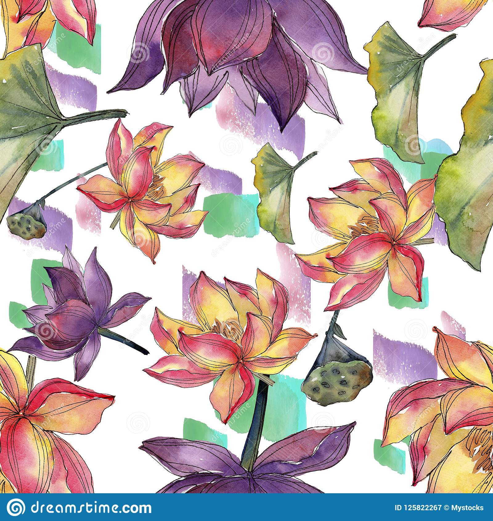 Watercolor colorful lotus flower floral botanical flower seamless download watercolor colorful lotus flower floral botanical flower seamless background pattern stock illustration mightylinksfo