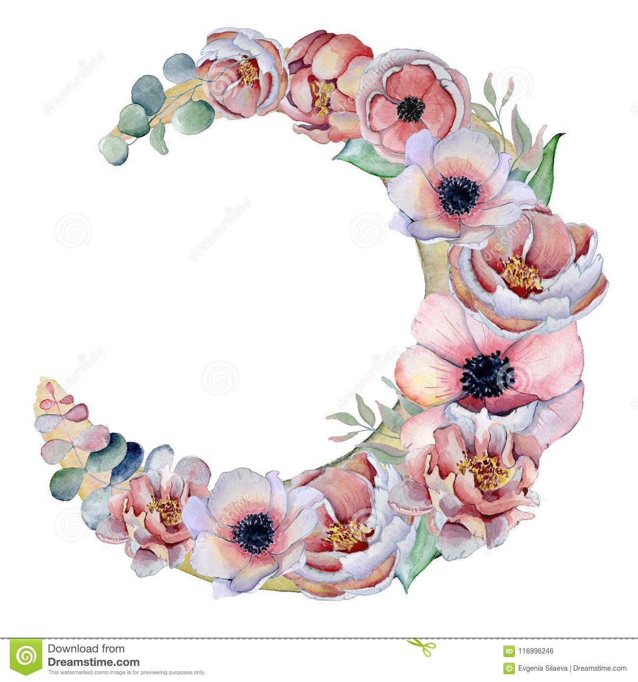 Watercolor composition with anemone flowers bouquet in a shape of watercolor composition with anemone flowers bouquet in a shape of the moon izmirmasajfo