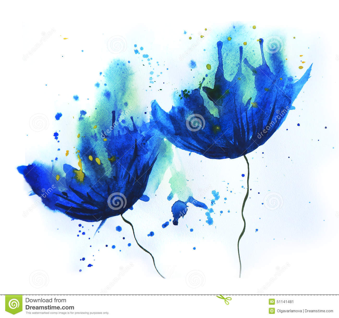 Watercolor cornflower stock illustration illustration of for Watercolor pictures easy