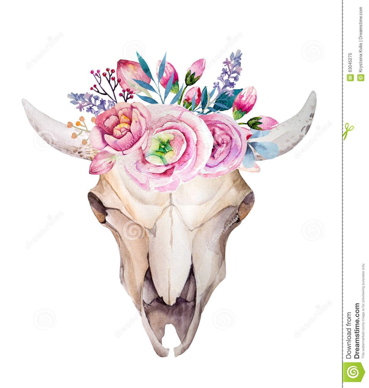 Watercolor cow skull with flowers and feathers