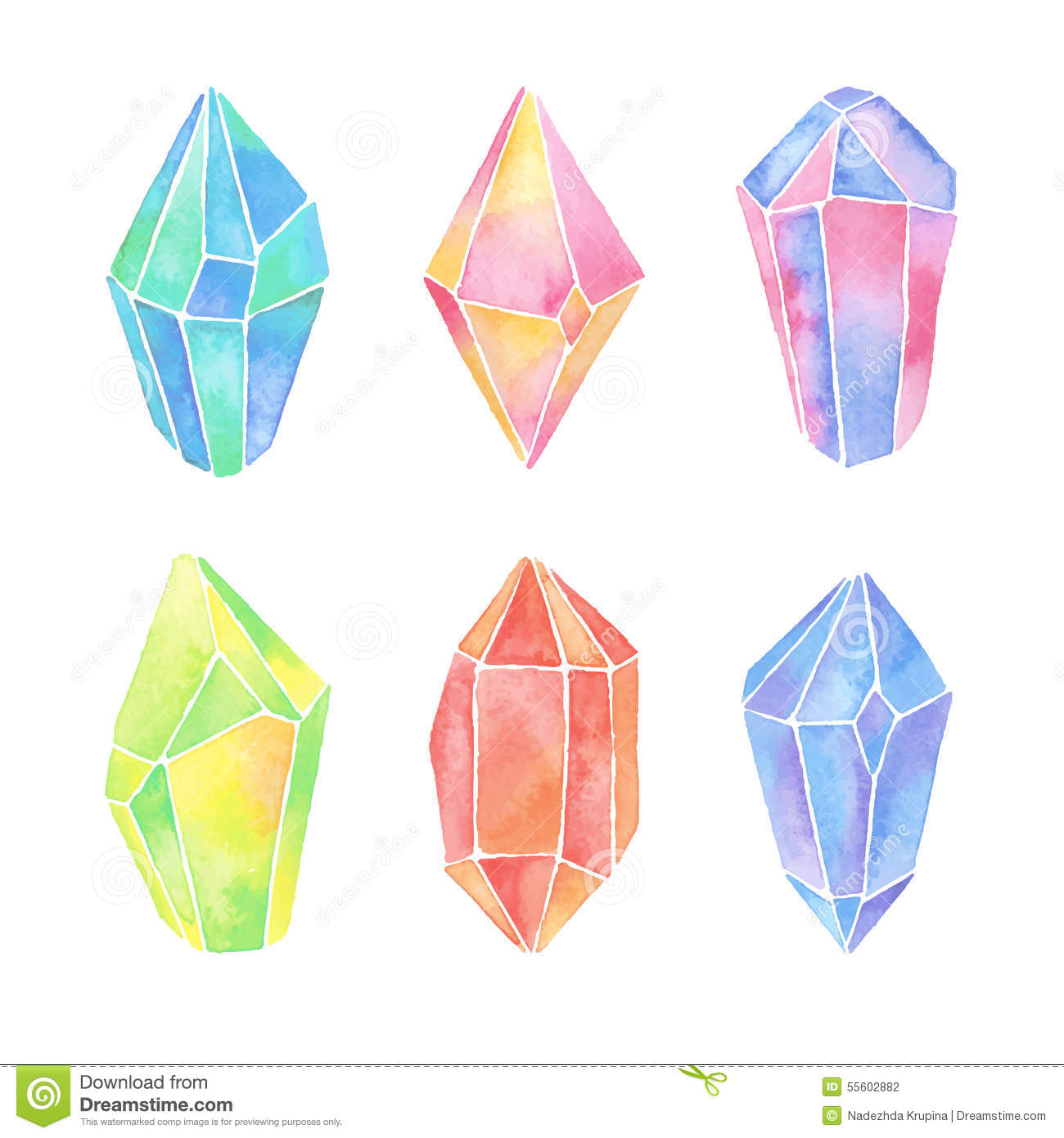 Watercolor crystals set stock vector illustration of for Paintings of crystals