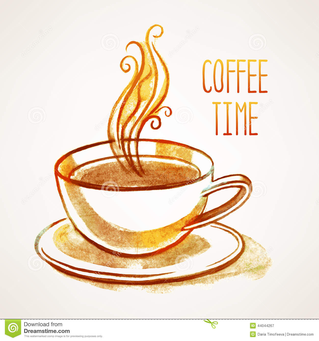 Watercolor Cup Of Coffee Stock Vector Image 44044267