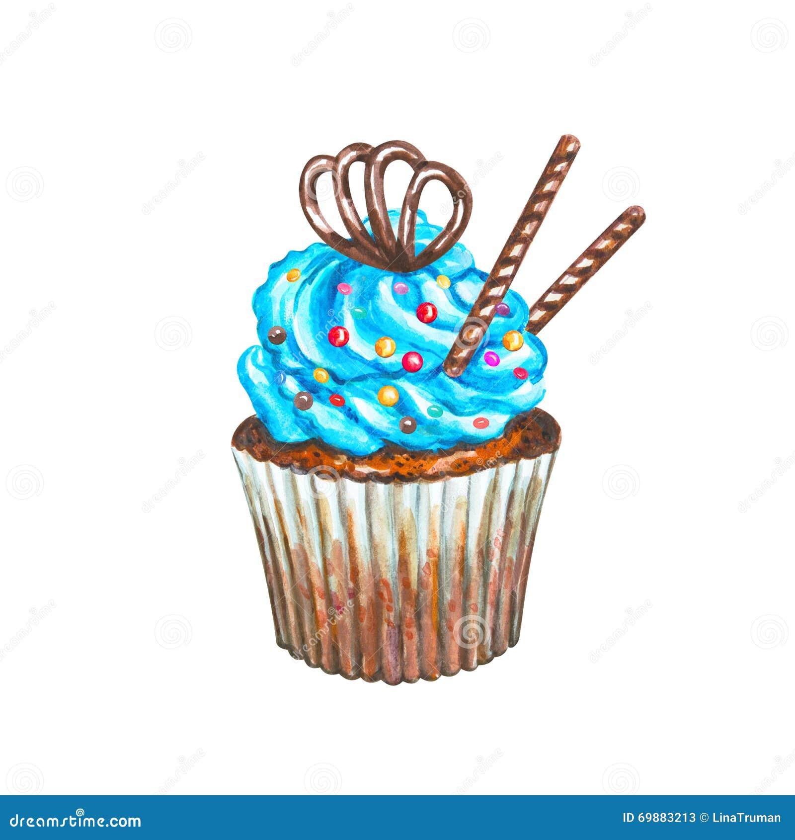 Watercolor cupcake watercolor chocolate cupcake stock illustration image 69883213 - Creme decoration cupcake ...