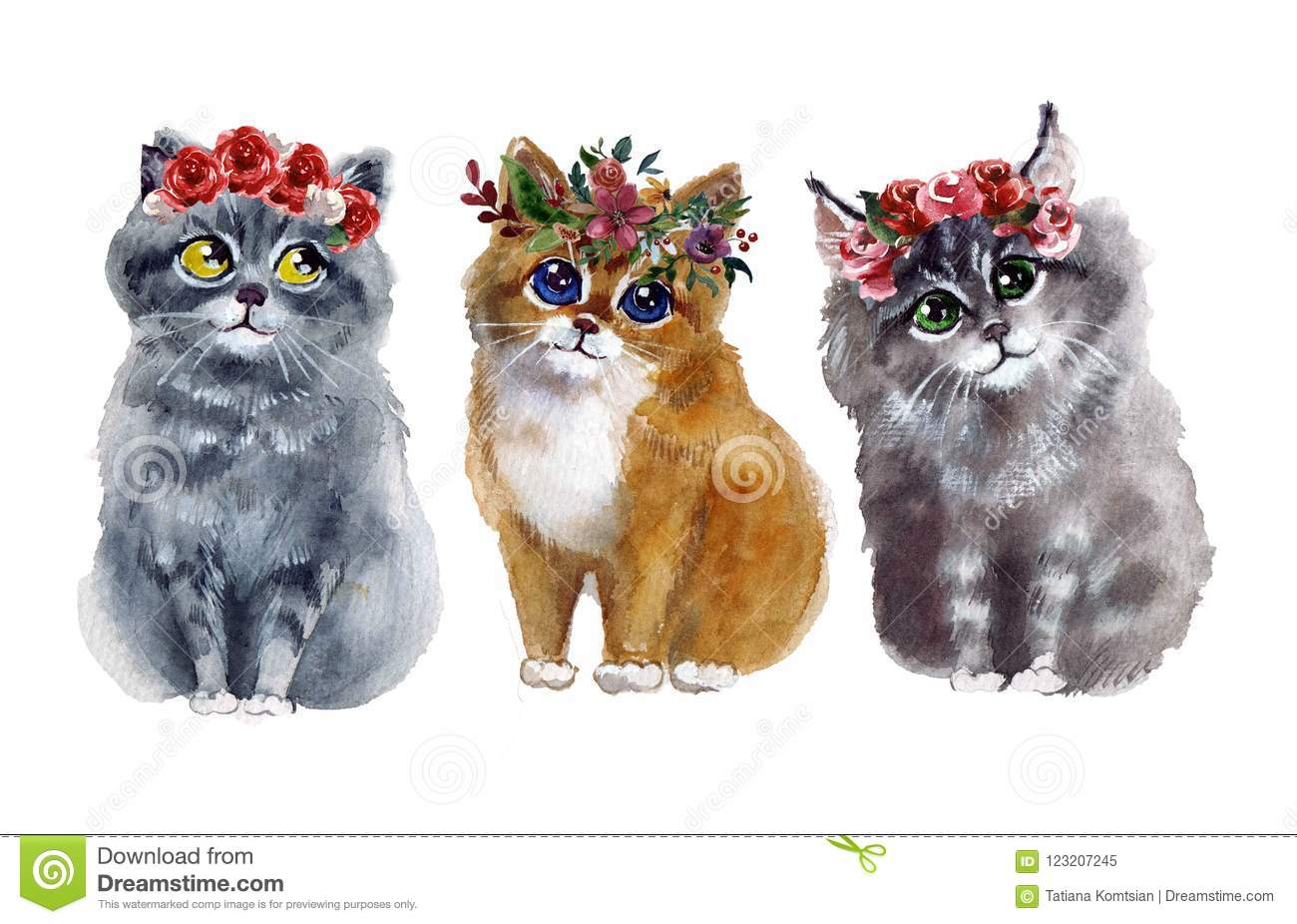 Watercolor cute cats with flowers on the white background