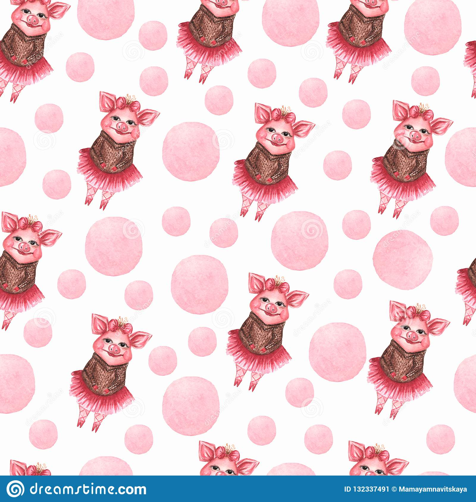 Watercolor Cute Pigs Characters Set Isolated On White Inspired By Farm Animals Cartoon Little Piggy Illustrations Perfect For Card Making Birthday