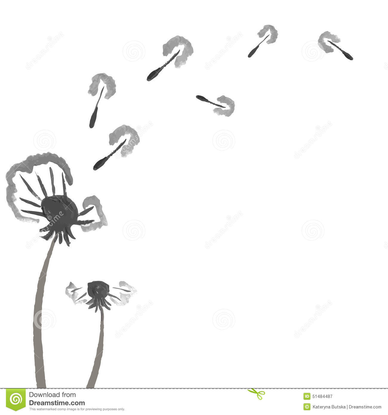 Stock Illustration Watercolor Dandelions Abstract Flower Background Hand Drawn Place Your Text Black White Monochrome Vector Image51484487 on vintage romance illustrations