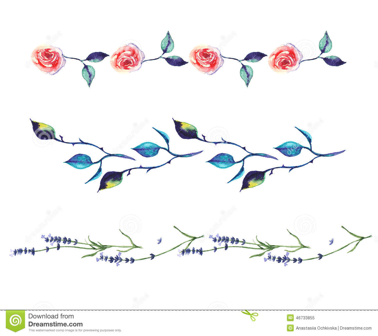 watercolor decorative elements boarders with rose and lavender