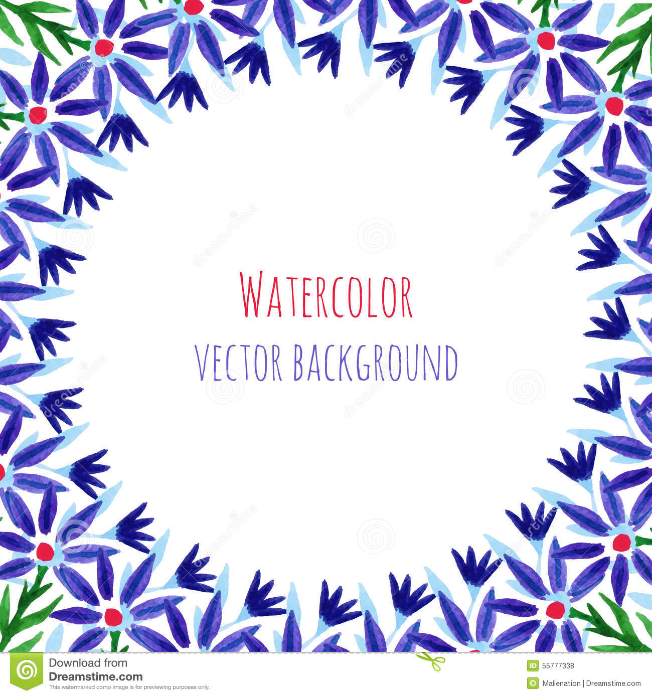 Watercolor Decorative Round Frame With Violet Flowers