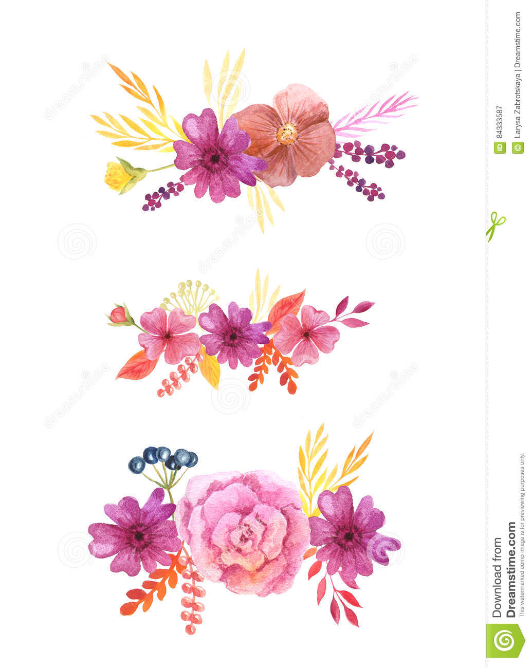 Watercolor Delicate Pink Flowers And Leaves Stock Illustration