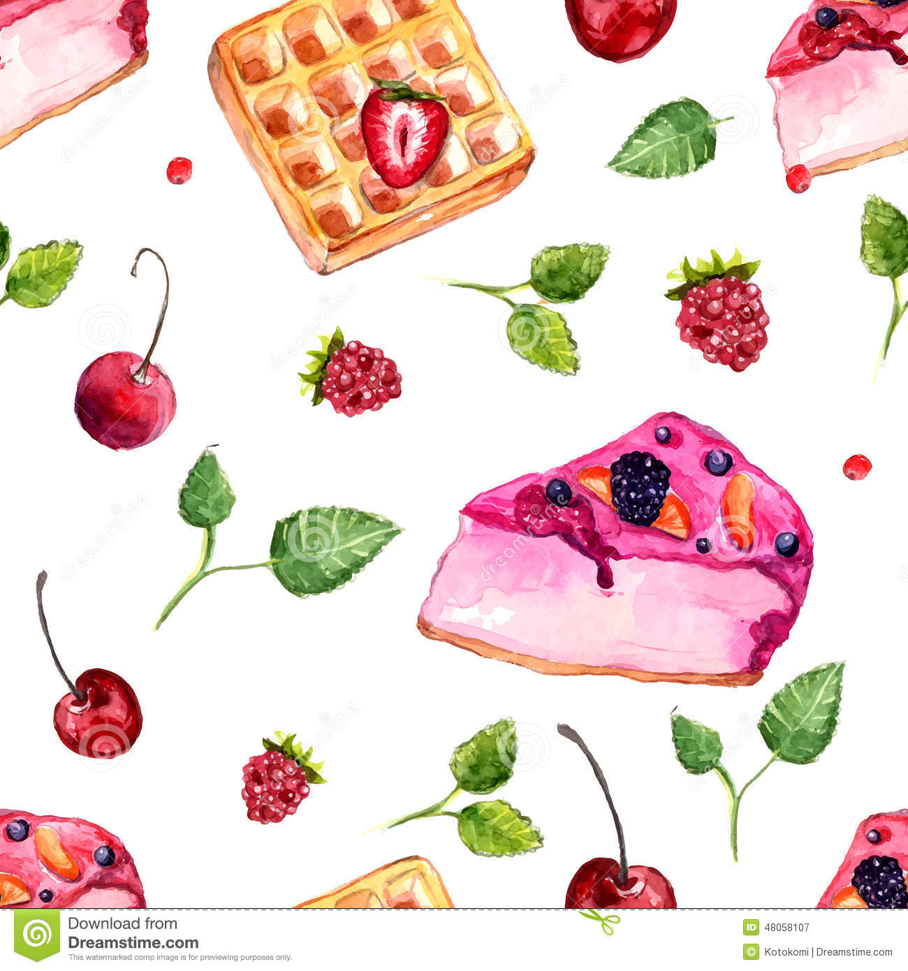 Seamless Pattern With Hand Drawn Watercolor Ice Cream: Watercolor Desserts And Berries Seamless Pattern. Stock