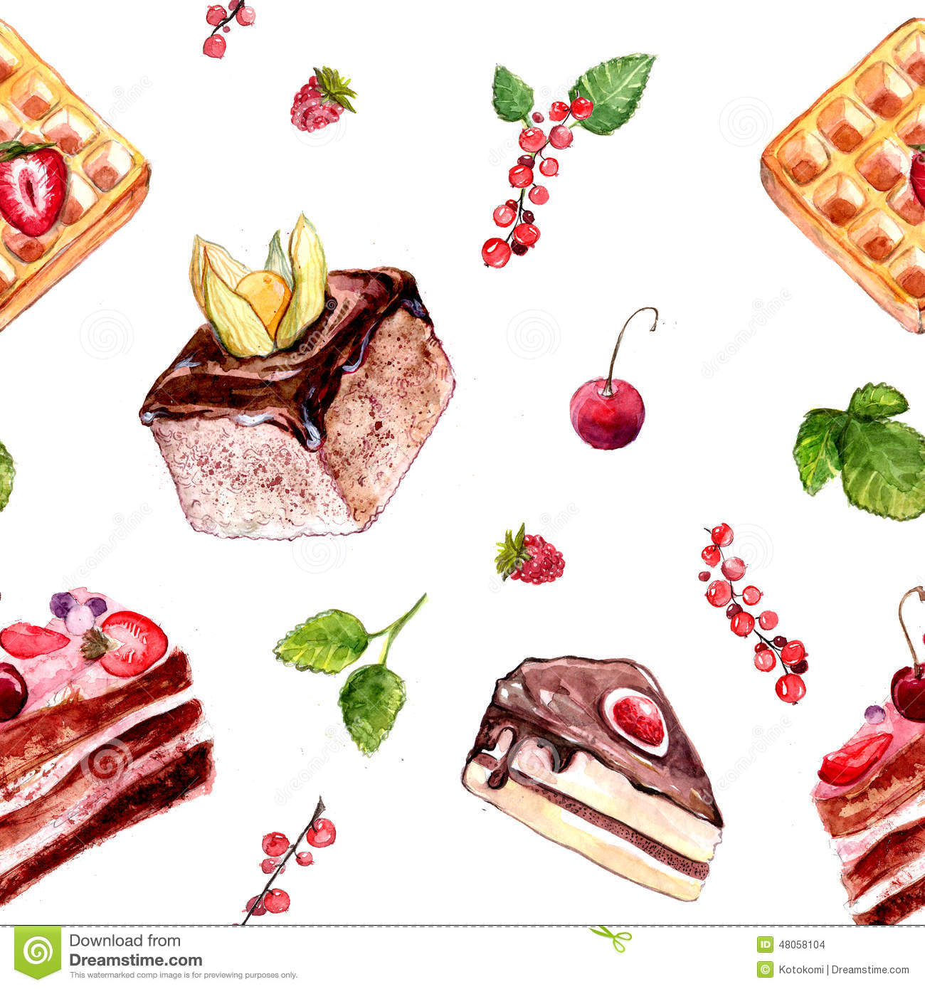 Watercolor Desserts Seamless Pattern With Cakes Red Currant And
