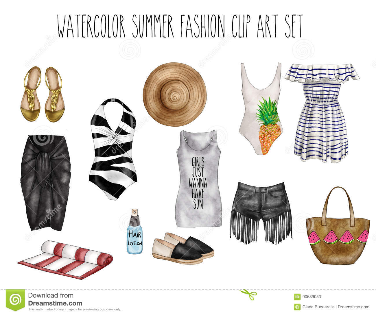 watercolor digital illustration watercolor fashion clip art set