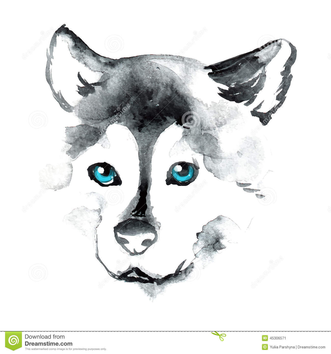 watercolor dog with blue eyes stock vector image 45306571