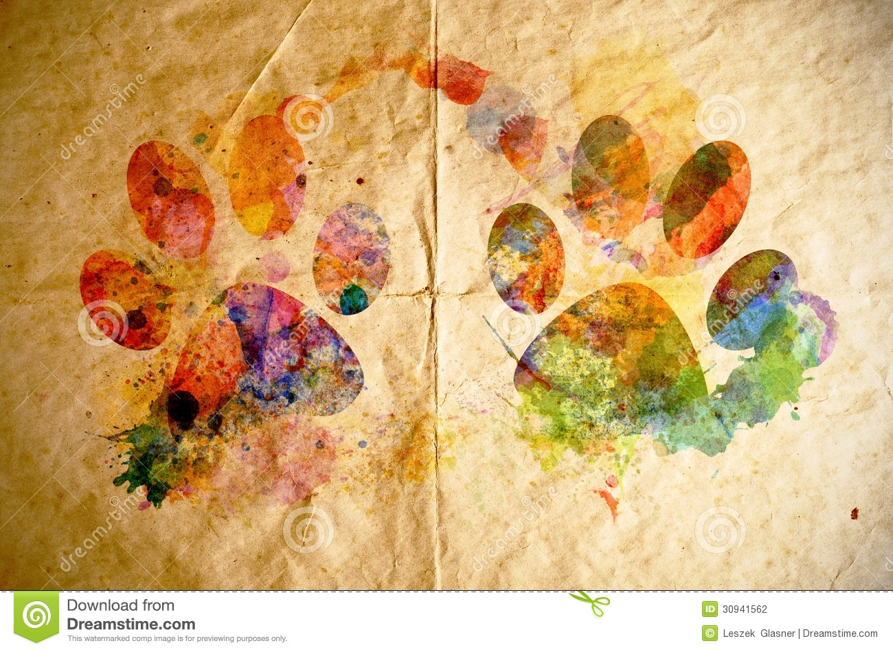Watercolor Dog Footprint Old Paper Background Stock