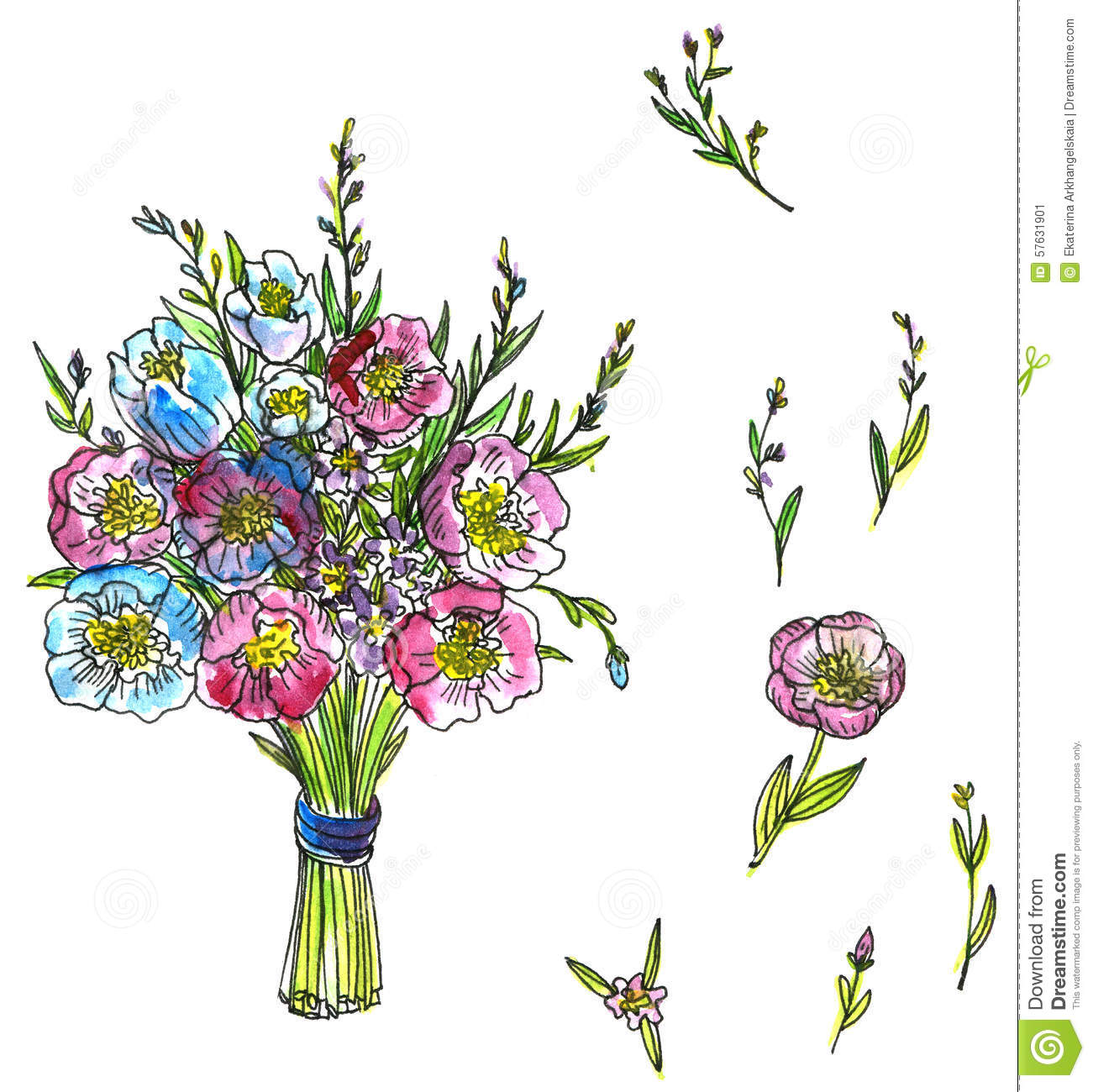Watercolor Drawing Bouquet Of Flowers